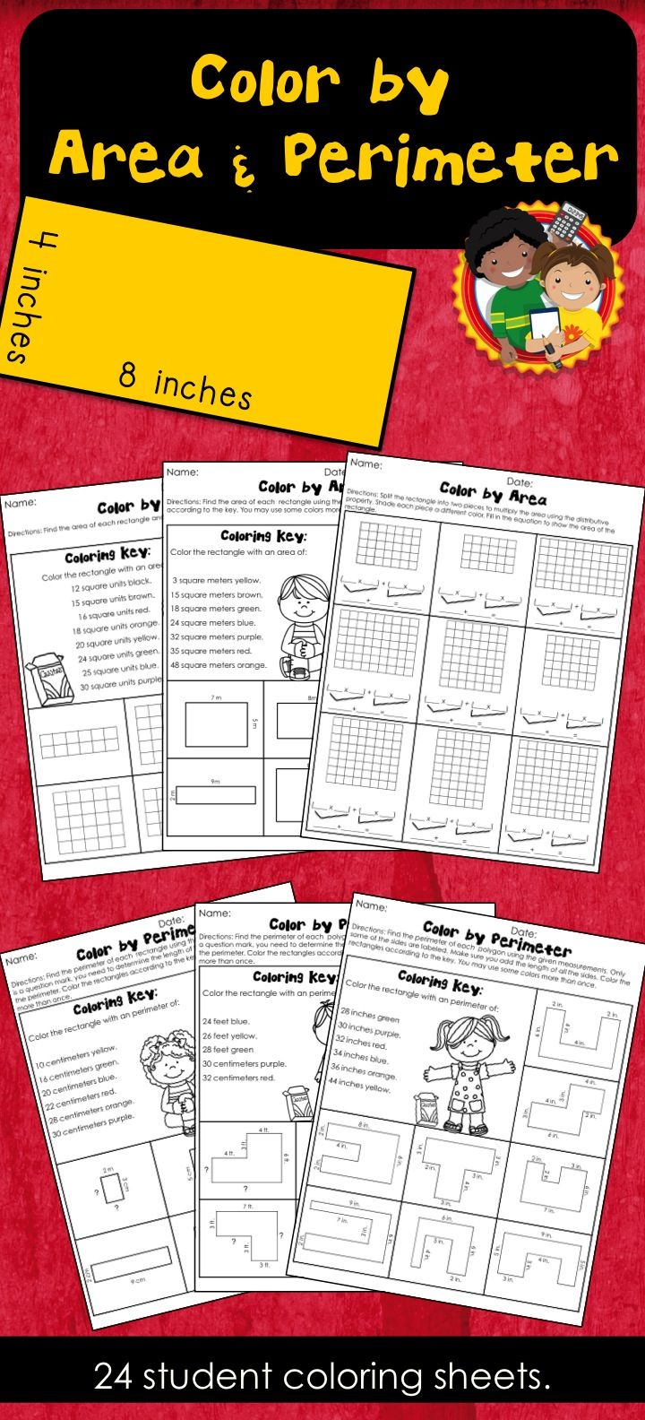 Students Can Practice Finding Area And Perimeter Using These Fun Coloring  Pages They Can Be 17