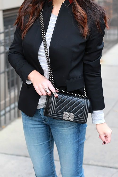 black blazer chanel boy bag chanel boy and bag