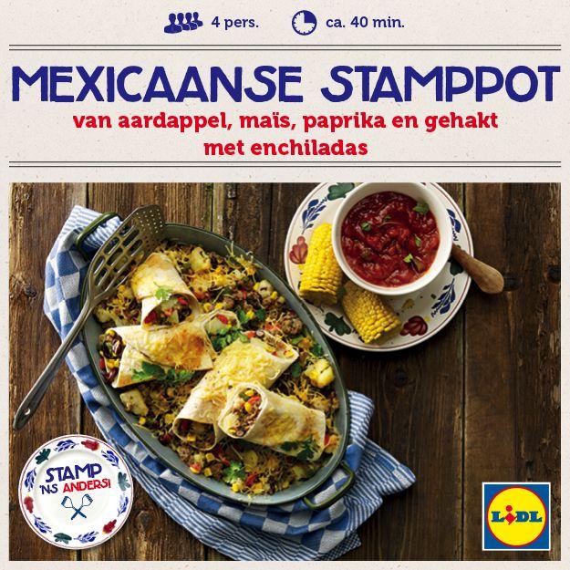 Recept voor Mexicaanse stamppot van aardappel, maïs, paprika en gehakt met enchiladas #Mexico #Stamppot #Lidl