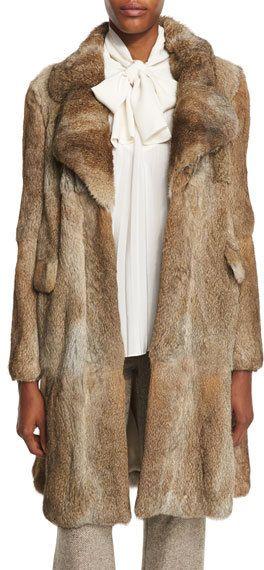 Mid-Length Rabbit Fur Coat, Brown/White https://api.shopstyle.com/action/apiVisitRetailer?id=535307901&pid=uid8721-33958689-52