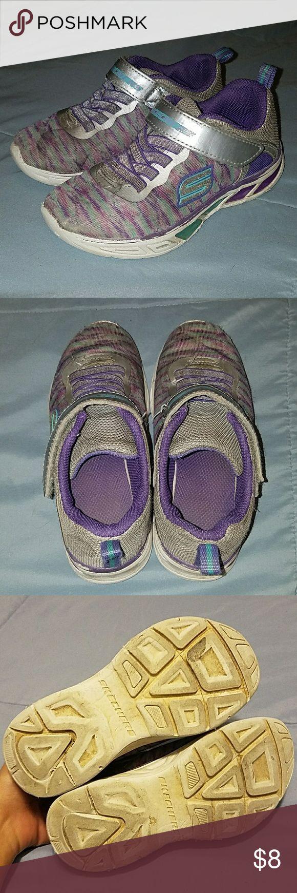 Light up Skechers Pre-loved light up Skechers for girls Pictures show wear but there's still good tread on the souls! Skechers Shoes Sneakers