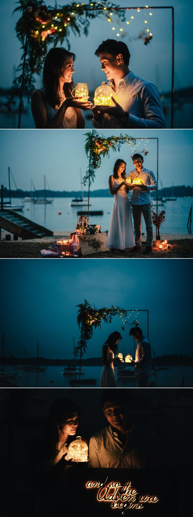 Sunset engagement / pre-wedding session with fairy lights {Facebook and Instagram: The Wedding Scoop}