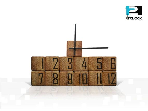 Modern and extraordinary handmade wooden cubic wall clock by 12oClockCollection