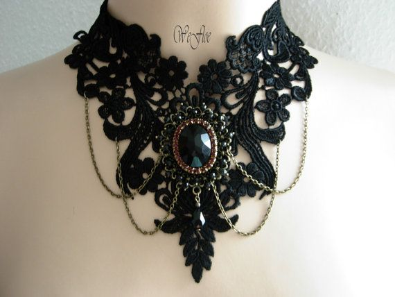 Victorian Necklace Gothic Jewelry Costume Collar black romantic lace Amulets  -ELVIRA-