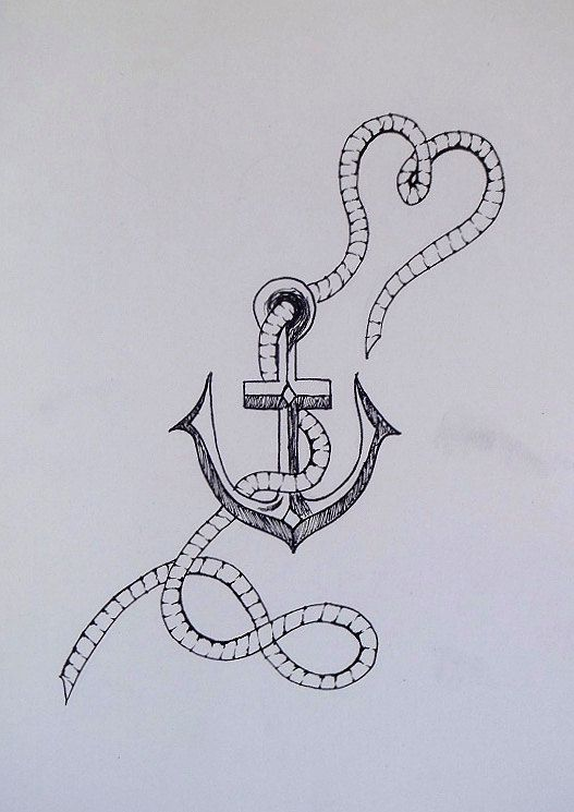 Anchor infinite love drawing. Fine line detail. A4. This piece was meticulously free-hand drawn using black graphic pens. Once off, original