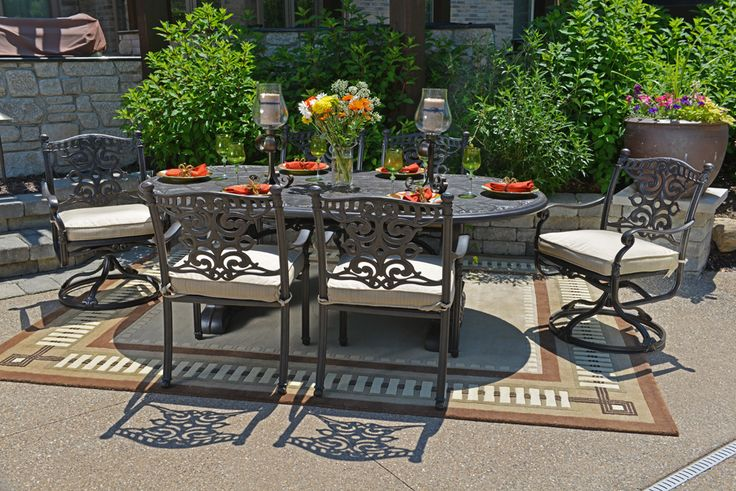 Serena Luxury 6-Person All Welded Cast Aluminum Patio Furniture Dining Set W/Swivel Chairs
