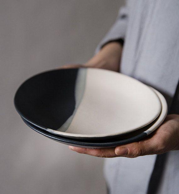 Keramische plaat moderne mat Dessert bord zwart en door FreeFolding