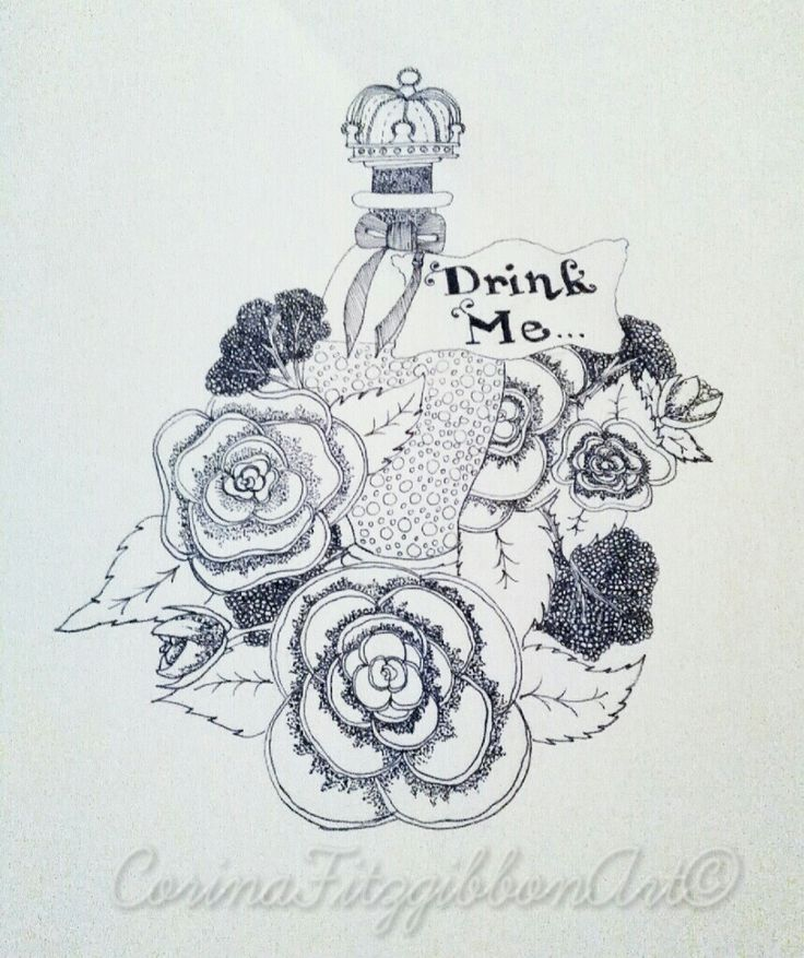 """""""Drink Me"""" Alice in Wonderland themed Pen Drawing. Illustration 
