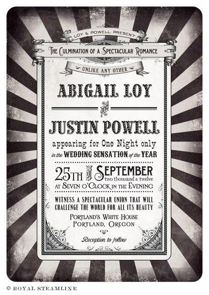 vintage circus wedding invite