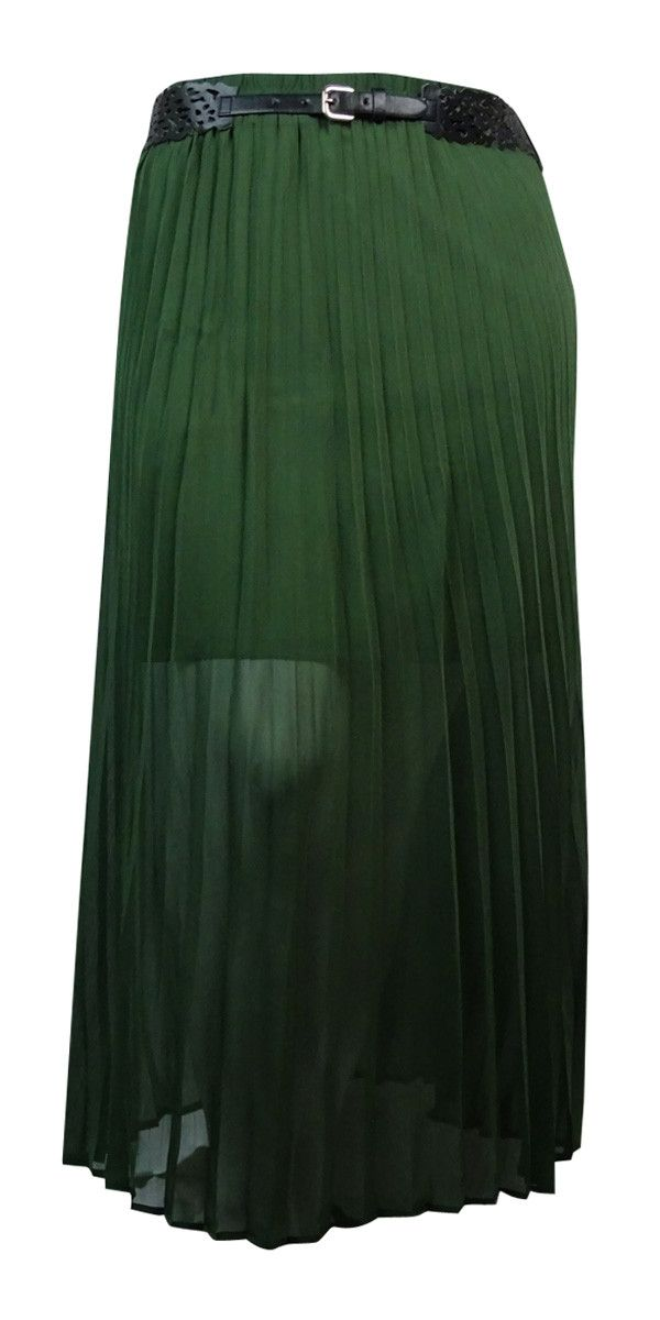 NY Collection Women's Belted Pleated Chiffon Maxi Skirt