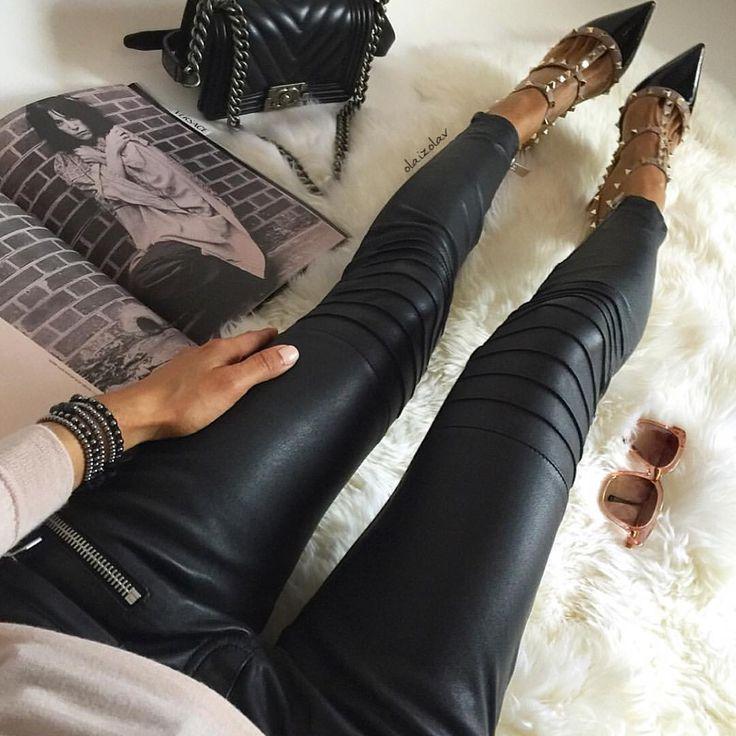 "Vola Udabe Randri on Instagram: ""Leather pants obsession ... ▪️▪️▪️ Follow me on Facebook . Link on Bio #goldonimilano bracelets #zara sweater #aninebing leather pants #chanel #chanelboy bag #thierrylasry sunglasses #valentino #rockstud heels #olaizolav"""