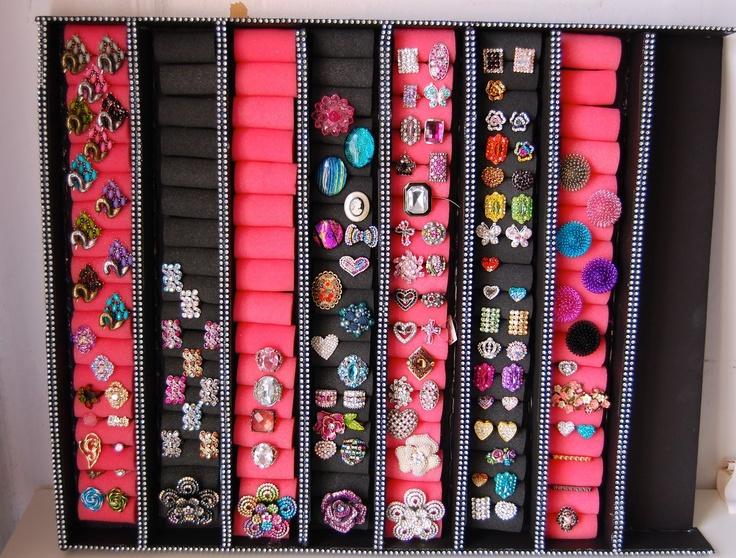 DIY Ring Storage Wall Holder Rack: using foam curlers