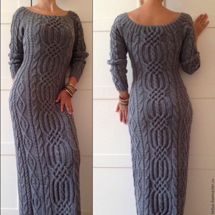 """Купить Платье """" Лабиринт"""" - серый, однотонный, платье в пол, вязание на заказ, вязание спицами"""