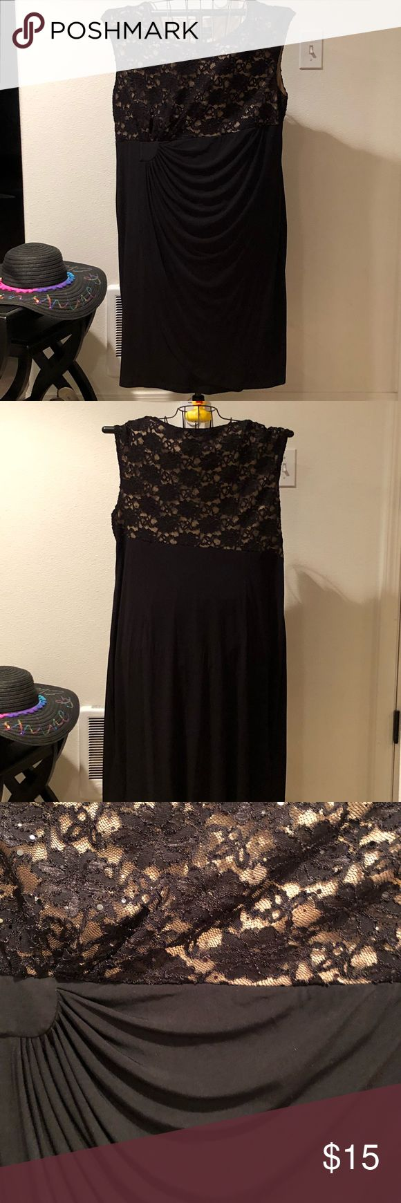 Plus size sleeveless black lace dress Beautiful black lace dress w/nude lined bodice. It is sleeveless & has ruching at the front side. Best of all, it has sparkly sequins w/in the lace. Size 20W. Connented Woman Dresses Midi