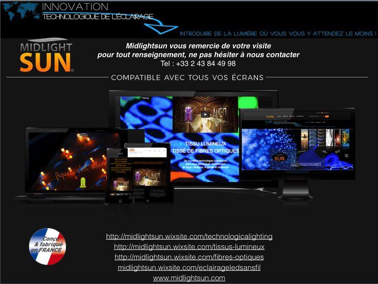 """Midlightsun est pionnier dans les nouveaux domaines de la décoration et de la conception basées sur des techniques avancées lumineuses : tissu lumineux fibre optique, la fibre optique diffusante la plus lumineuse du marché, des luminaires LEDs sans fil à piquer """"punaises lumineuses"""" sur des panneaux conducteurs d'électricité, tous conçus et fabriqués en France sous brevets.  La vitrine représente le facteur le plus important dans la première approche du client ou du prospect lors de…"""