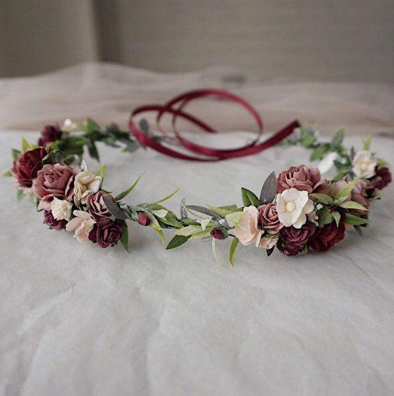 Wedding flower Crown Bohemian Flower Crown Dusty Rose Flower Crown Flower Crown Adult Flower Headband