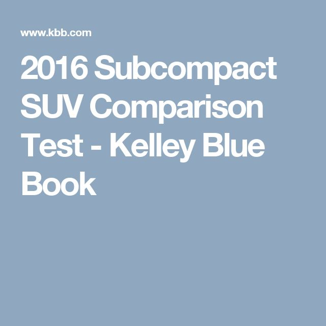 2016 Subcompact SUV Comparison Test - Kelley Blue Book