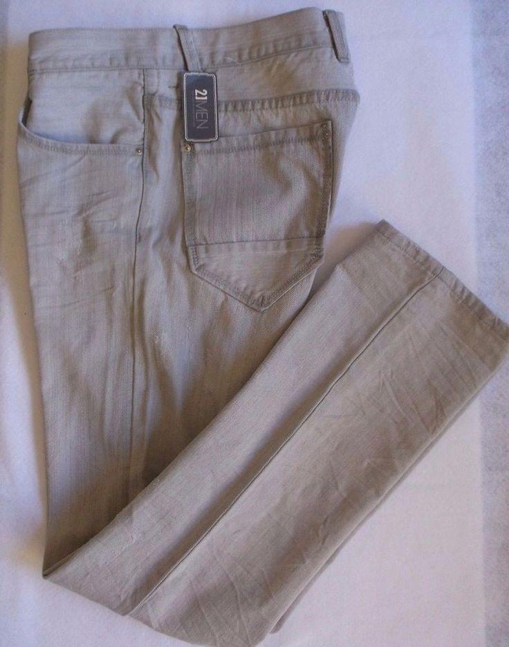 21 Men an American Brand Men's Gray Distressed Jeans Size 33/34 #21MEN #SlimSkinny