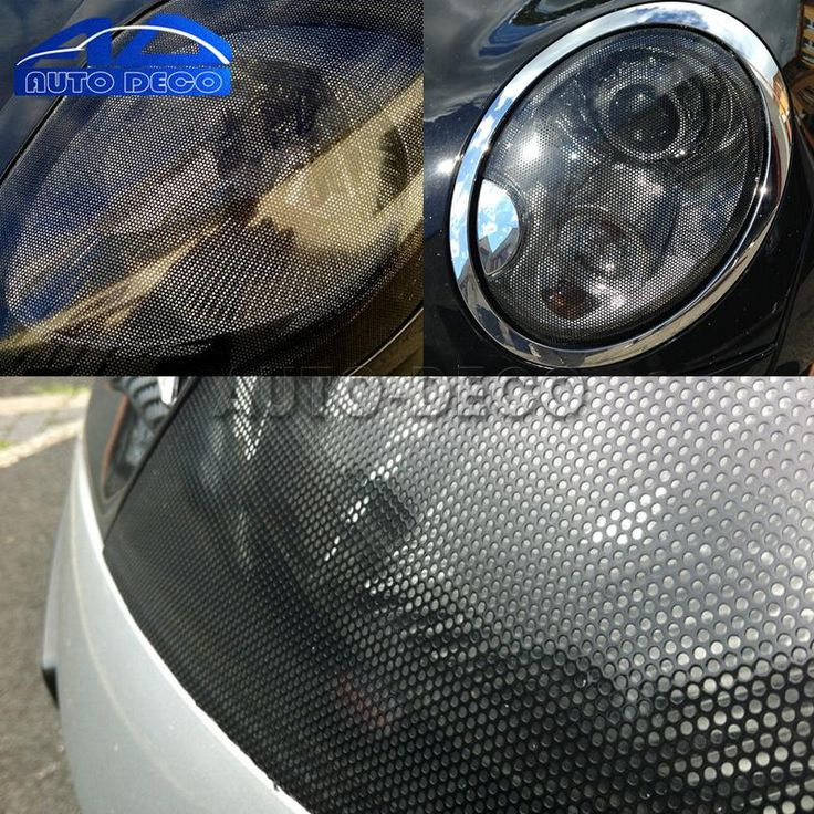 50*107cm Mesh Film One Way Vision Perforated Black Fly Eye Window Car Rear Light Headlight Legal Tint