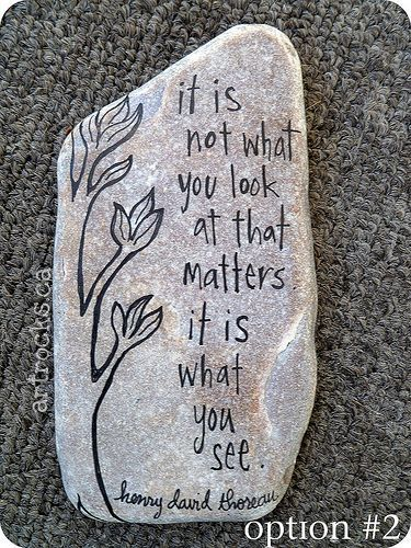 """This ArtRocks Inspired Stone has a whimsical hand-drawn tree with the Henry David Thoreau quote"""" It is not what you look at that matters,. It is what you see."""""""