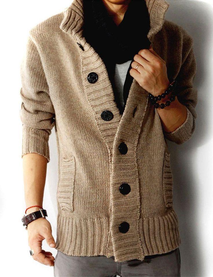 Men's knit collared sweater, cardigan, coat