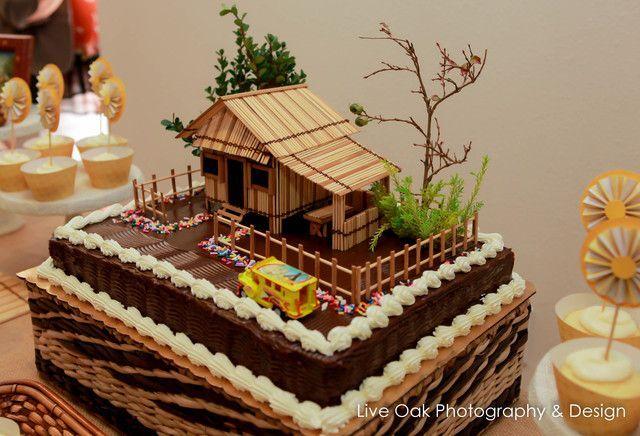 Filipino Party Decorations | Goldilocks cake with handmade bahay kubo cake topper
