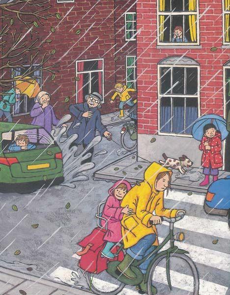 In de herfst regent het vaak. Welke kleren zullen we dragen als het kouder wordt en als het regent? De leerlingen kunnen hierover vertellen en nadenken.