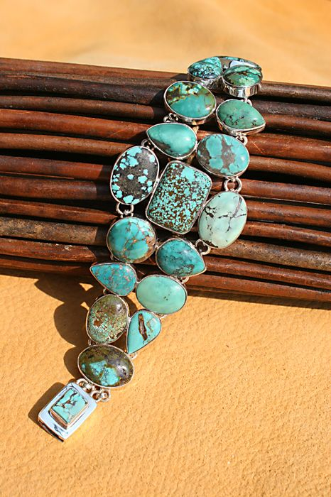 ~ Love The Different Turquoise Stones In This Bracelet...So Unique! ~