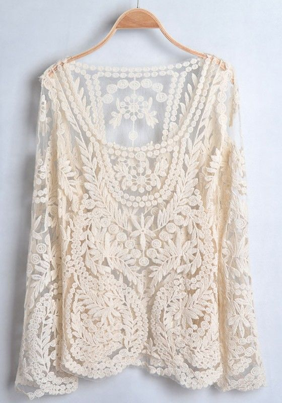 Lace long sleeve blouse.