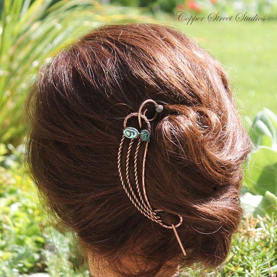 Abalone Hair Clip Bun Holder Copper Hair Brooch Hair Pin