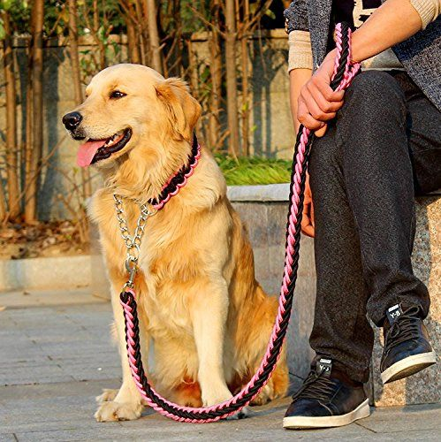 FinerMe Big Dog Leashdog Chaintraction Rope Adjustable Loop Slip Pet Dog Leashes Rope Snap Training Lead Mediumlargexlarge XLleash diameter 1 inch PinkBlack ** Check this awesome product by going to the link at the image.Note:It is affiliate link to Amazon.