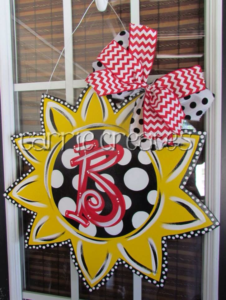 "SunFlower Door Hanger $45 (can ship anywhere in U.S.) personalize it.  Perfect for any front door.  Choose your own colors.   www.creationsbycarrieb.com Order on FB ""Carrie Creates"" Carrieiscreating@yahoo.com"