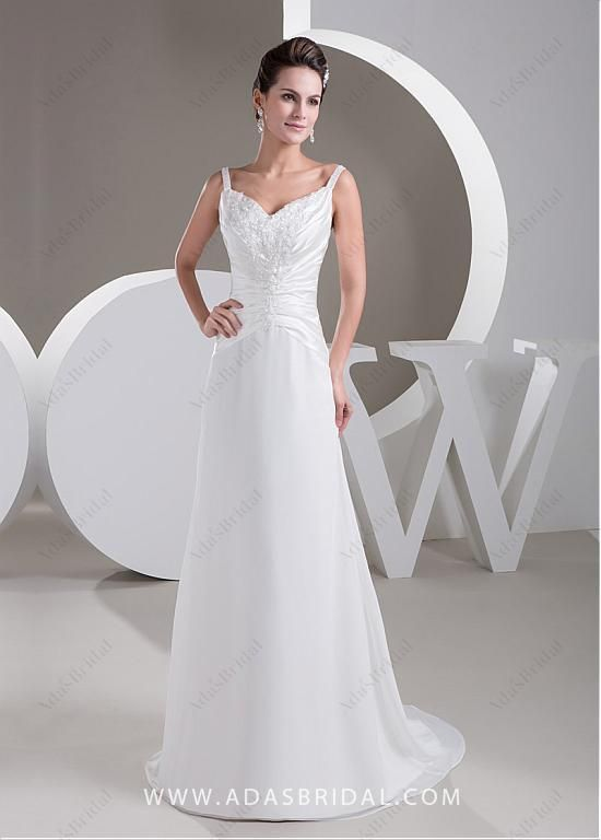 d83a2c62c0 Buy discount Delicate Chiffon Spaghetti Straps Neckline Sheath Wedding  Dresses With Beaded Lace Appliques at Laurenbridal.com