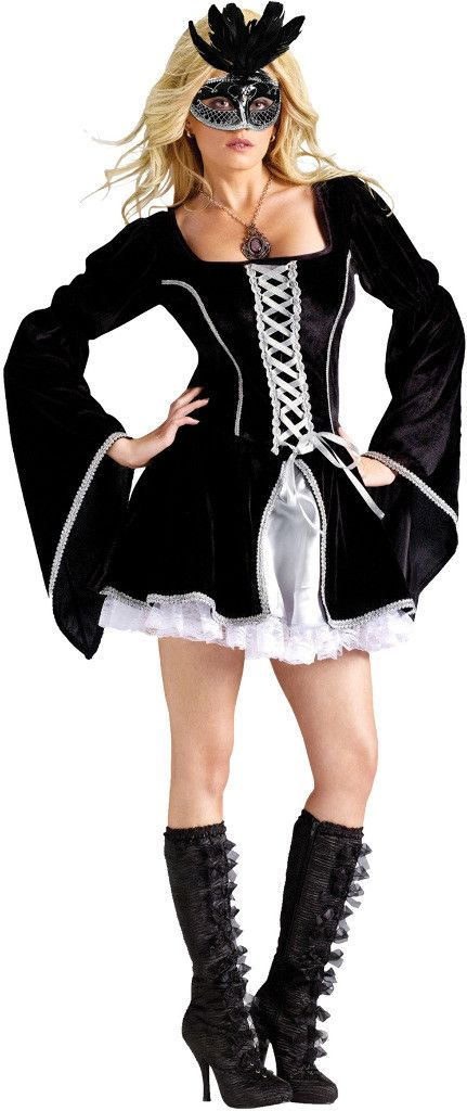 womens midnight masquerade costume midnight masquerade adult costume seductively mysterious is a masked beauty at the ball - Masquerade Costumes Halloween