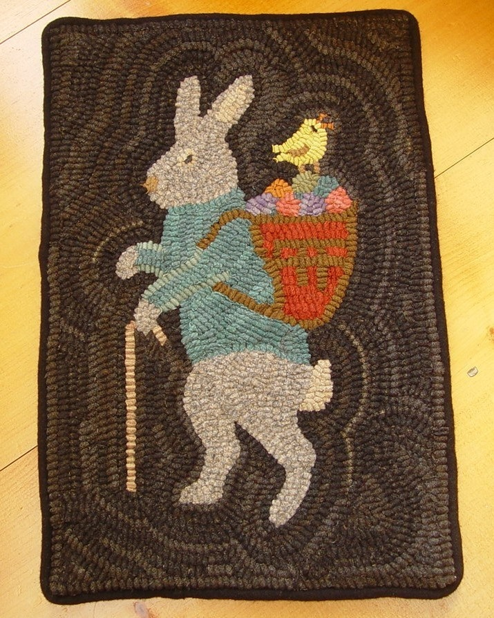 Primitive Rabbit And Peep Easter Bunny Wool Hand Hooked Rug Hooking
