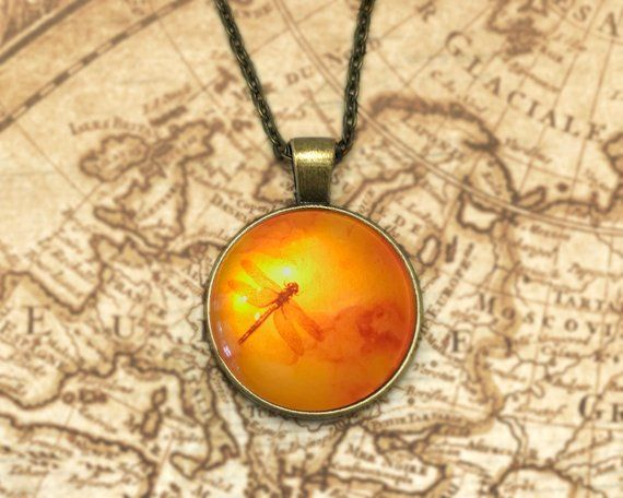 Dragonfly in Amber Silver Ornate Pendant Necklace Outlander inspired