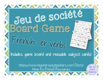 Need a fun way for your French class to practice conjugating regular present tense -er verbs?  This fun game will get them speaking and conjugating verbs in no time!Students move their game pieces around the board and for each verb space they land on, they create sentences using the subject shown on the subject card that they draw.