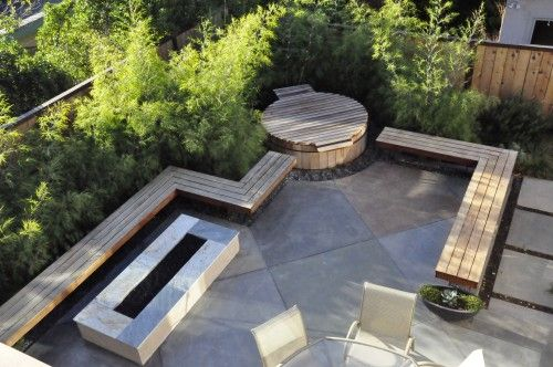Benches: Mid Century Modern, Patio Design, Landscape Architecture, Modern Landscape, Hot Tubs, Firepit, Modern Patio, Yard Ideas, Fire Pit