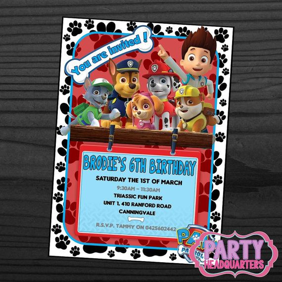 118 best paw patrol party images on pinterest birthday for Paw patrol invitation ideas