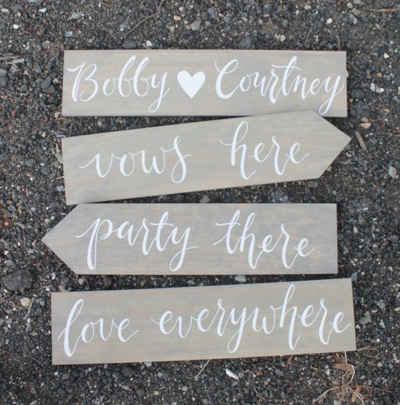 Hand Painted Wedding Direction Signs | wedding signage | 6x24 | Set of 4 | vows here, party there, love everywhere