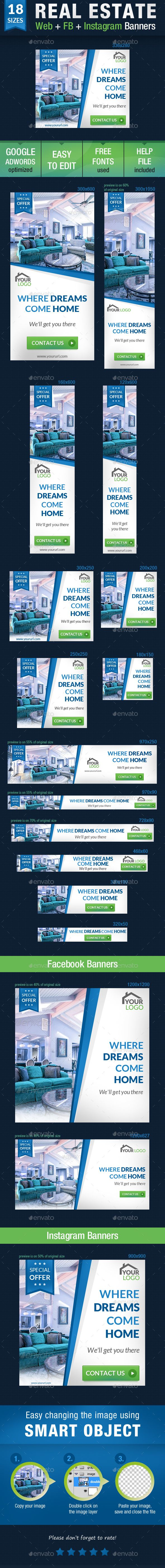 Real Estate Web + FB + Instagram Banners — Photoshop PSD #retargeting #adroll • Available here → https://graphicriver.net/item/real-estate-web-fb-instagram-banners/15191939?ref=pxcr