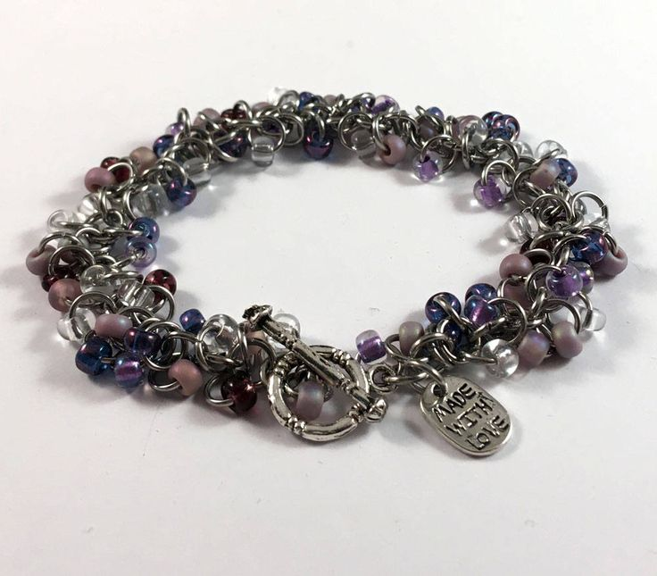 Lavender shaggy bracelet - beaded chainmaille bracelet by TrinketFairyDesigns on Etsy