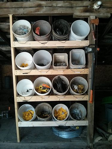 Keep your fencing tools handy and organized with this simple shelf and buckets
