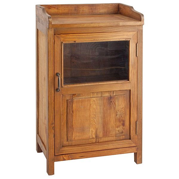 Porthos Home Natural Country-Style Display Cabinet ($70) ❤ liked on Polyvore featuring home, furniture, storage & shelves, display units, handmade furniture, country curio cabinets, country furniture, window shelves and country shelves