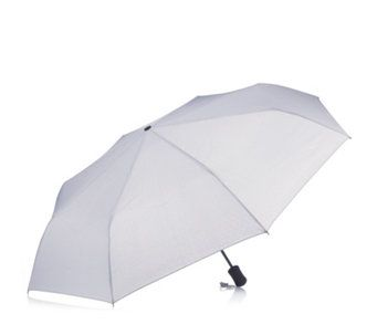 "169643 - Kipling Shabina Umbrella  QVC PRICE: £26.00 + P&P: £3.95 in 2 colour options This mini umbrella from Kipling features a telescopic handle and wristlet, and comes with a matching cover. Shield yourself from the elements in style with this Shabina umbrella.  Outer: polyamide; frame: aluminium Umbrella (h x w): 28cm x 2.6cm (11"" x 1.1"")"