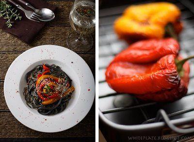 White Plate: Spaghetti w sosie orzechowym, z imbirem i pieczoną papryką