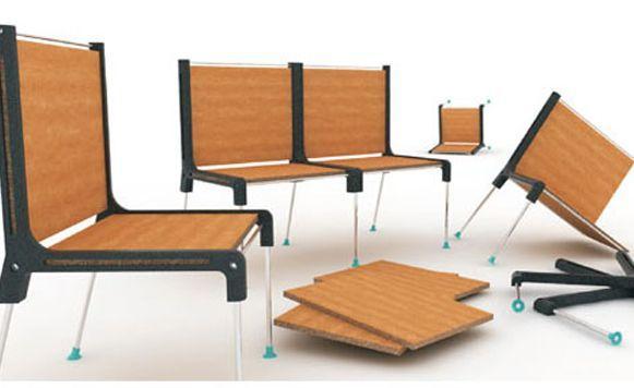 Plate System–Muebles bellos hechos con láminas de madera en desuso (por Iohanna Küppers)