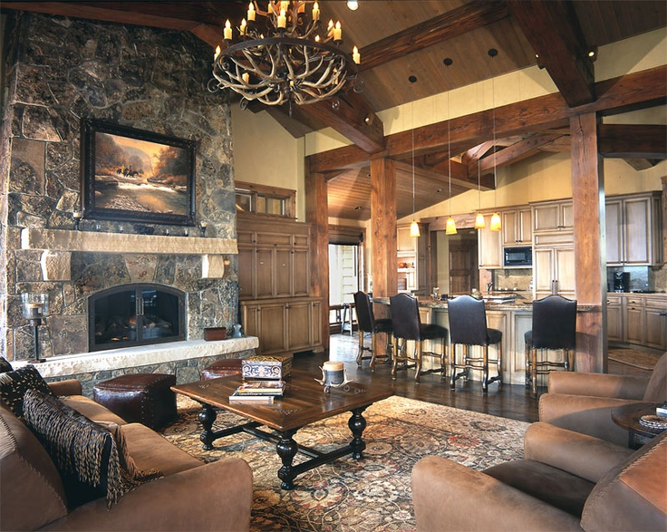 134 best images about rustic great rooms on pinterest for Log cabin additions ideas