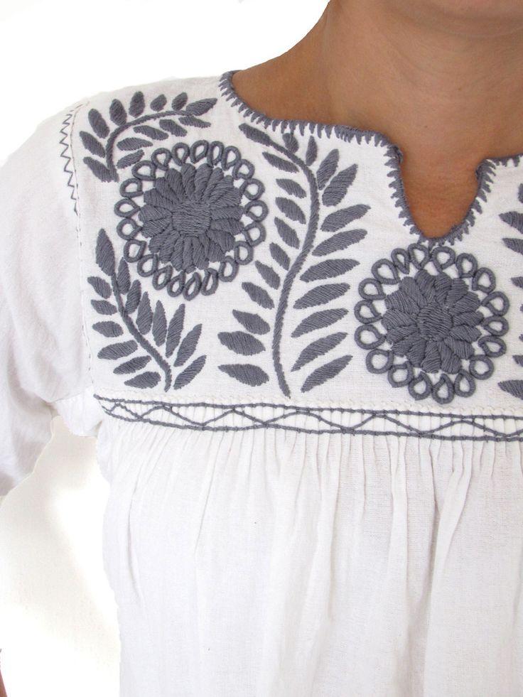 Hand Embroidered Margarita Blouse Gray   Chiapas Bazaar  Fairtrade Mexican Artisanal Collection