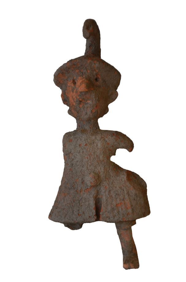 Greek archaic terracotta statuette of a soldier, 6th-5th century B.C. Archaic Greek pottery figure of a soldier with helmet and dress, probably a toy, 14.9 cm high. Private collection
